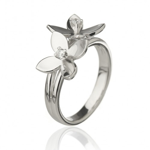 Forget Me Not Ring, Two Flowers With 4 Petals