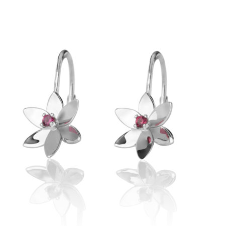 Forget Me Not, 6 petals leverbacks earrings
