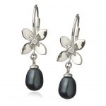 Forget me not, asaiceland.is, leverback earrings, black pearl