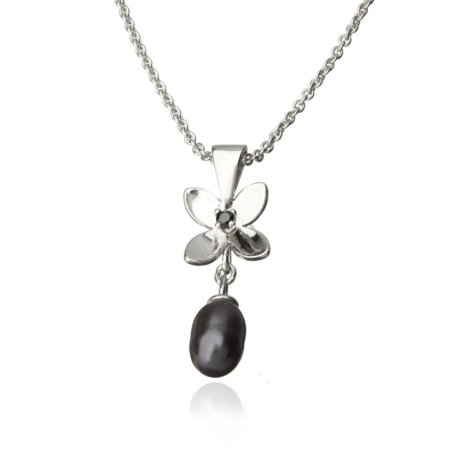 Forget Me Not 4 petals pendant with Pearl