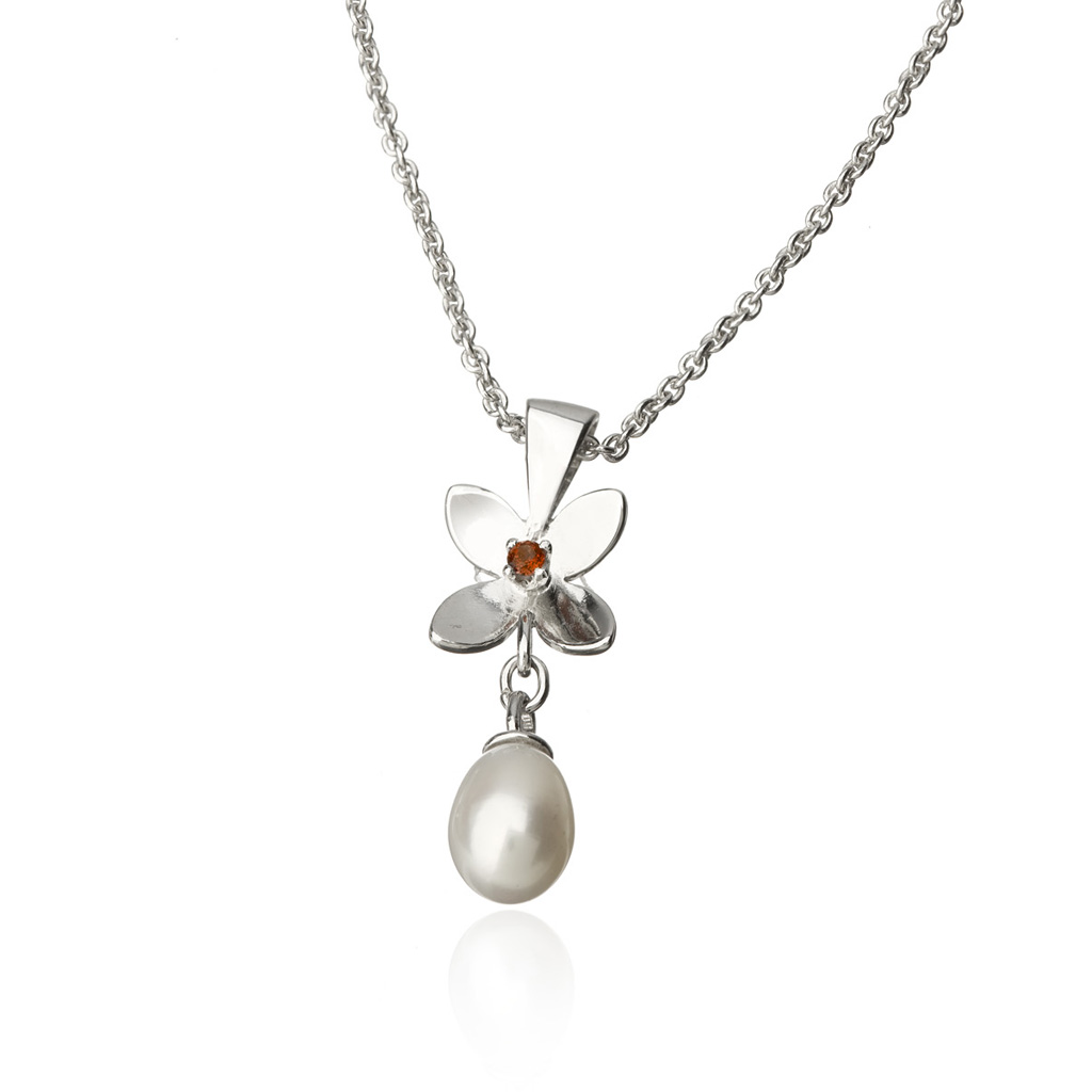 Forget me not 4 pedals pendant with pearl forget me not 4 petals pendant with pearl aloadofball Gallery