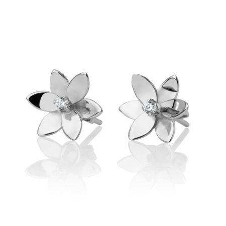 Forget Me Not, 6 pedals studded earrings