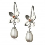 Forget Me Not 4 petal leverback earrings with pearl