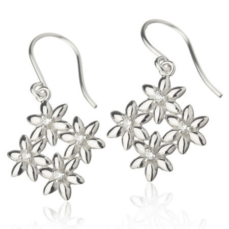 Summer breeze, hooked earrings, white