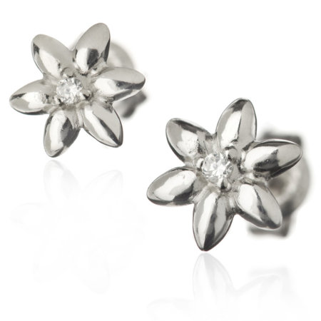 summer breeze, studded earrings, Zirconium